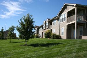Landscaped ground of Ironwood Court apartment community