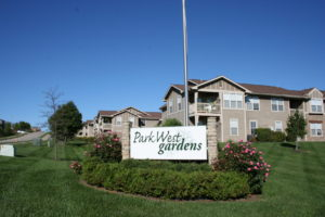 Entrance sign of Park West Gardens in Lawrence