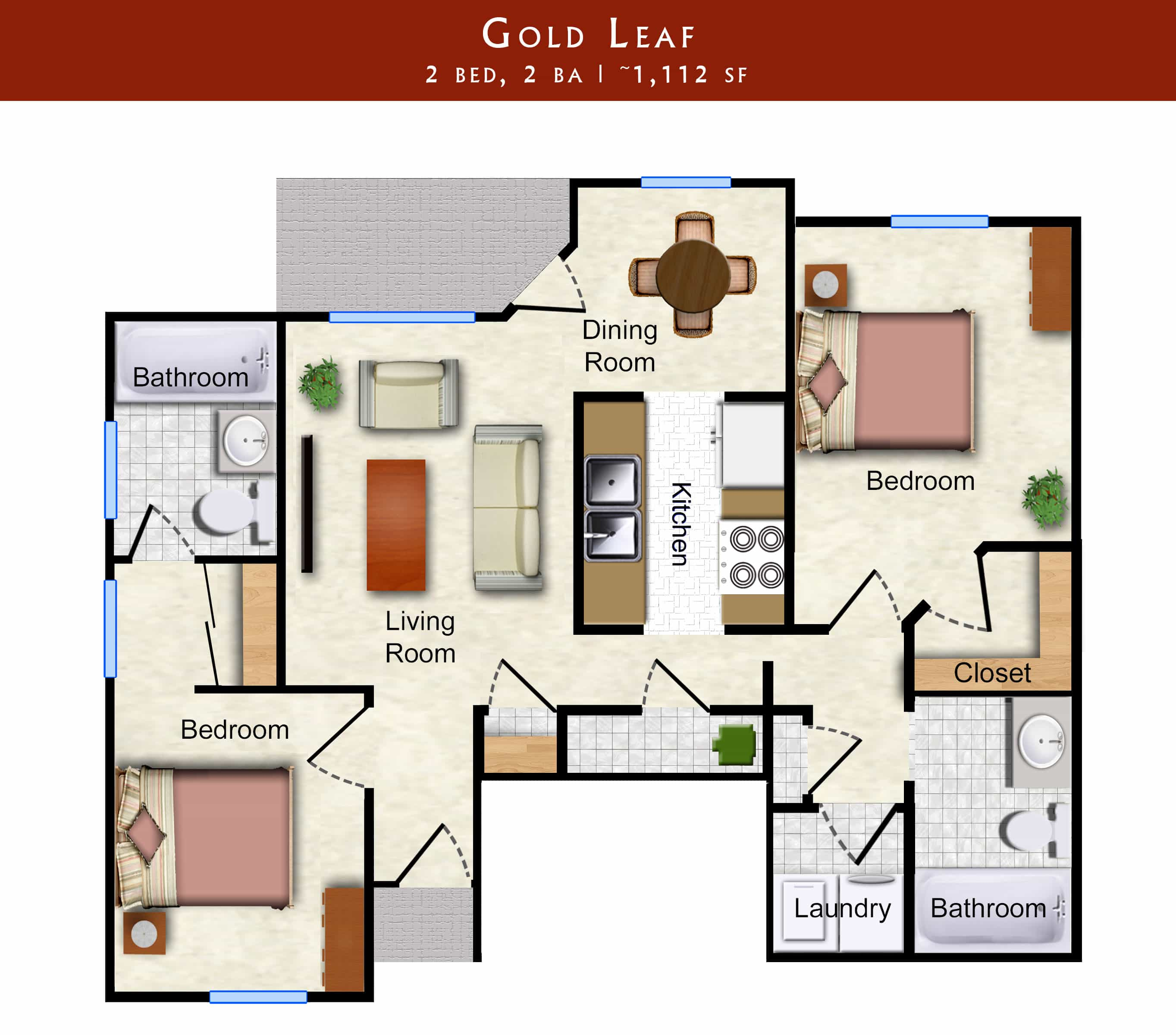 Gold Leaf: 2 bed, 2 bath 1,112 sq. ft. spacious floor plan of Lawrence apartment