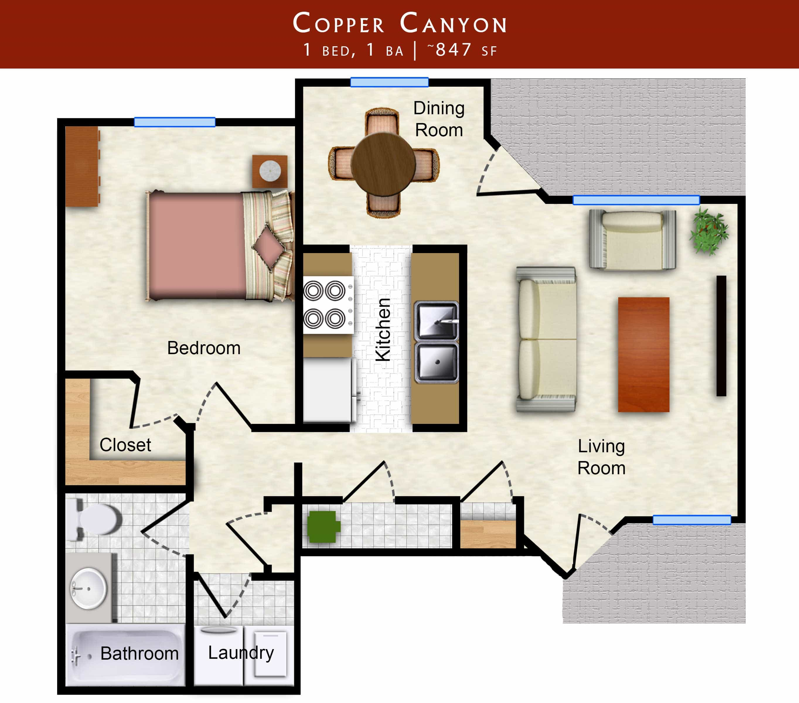 Copper Canyon: 1 bed, 1 bath 812 sq. ft. floor plan of Lawrence, KS apartment