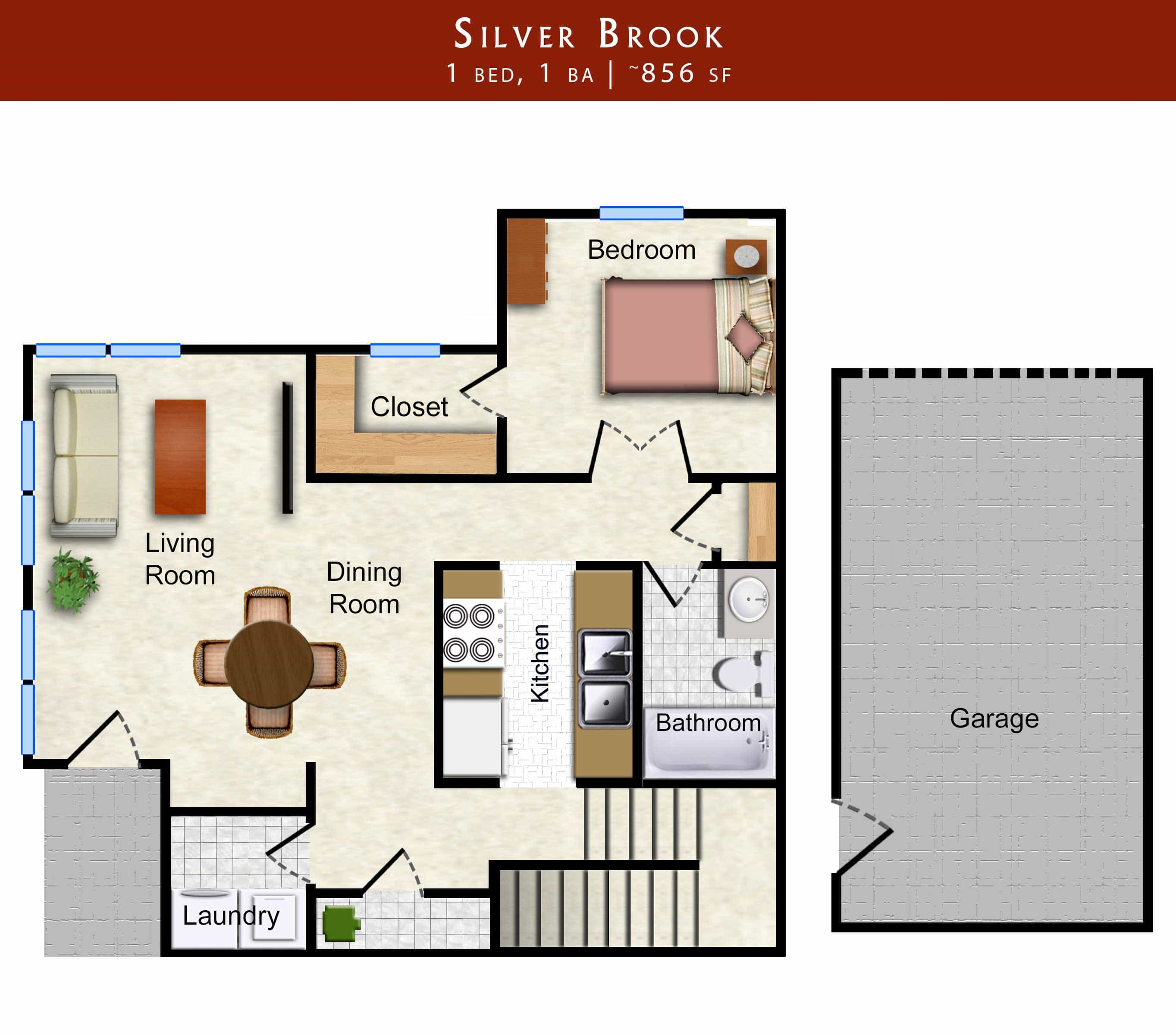 Silver Brook: 1 bed, 1 bath 856 sq. ft. with garage floor plan of apartment in Lawrence, KS