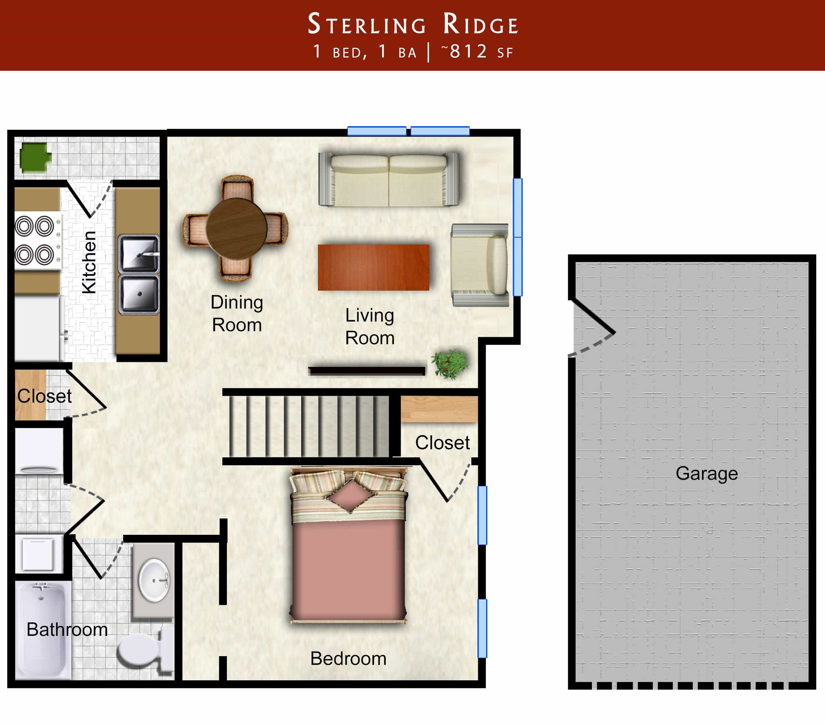 Sterling Ridge: 1 bed, 1 bath 812 sq. ft. with garage floor plan of Lawrence apartment